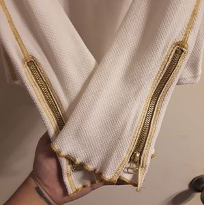 Free People Tops - *SOLD* Free People White & Gold Zip Cuff Thermal L